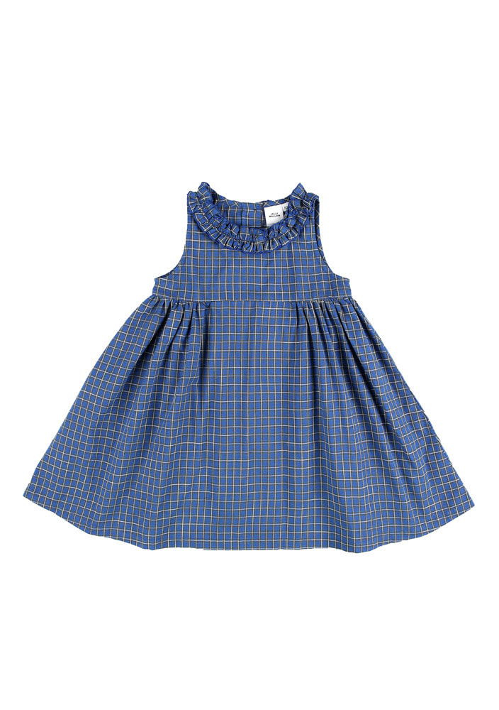 Blue Check Frill Dress_Kids