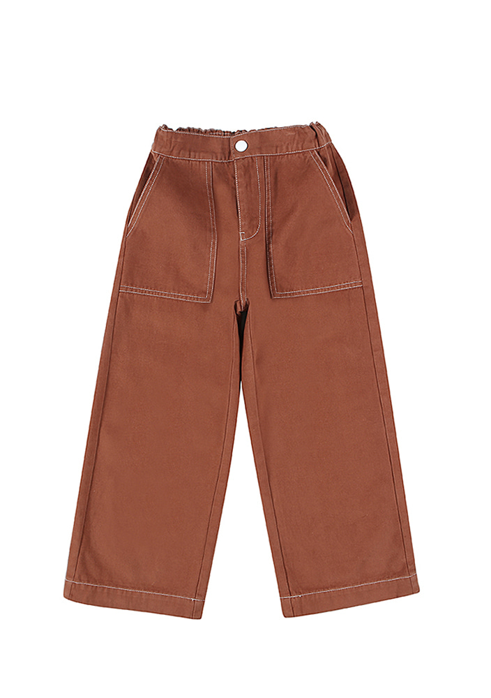CARPENTER COTTON PANTS_BRICK
