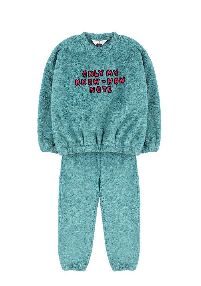 SHEARLING SWEATSHIRT & LOUNGE PANTS_Kids_Green