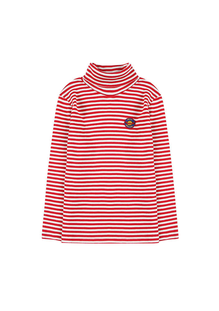 STRIPED PATCH TURTLENECK_Kids_Red