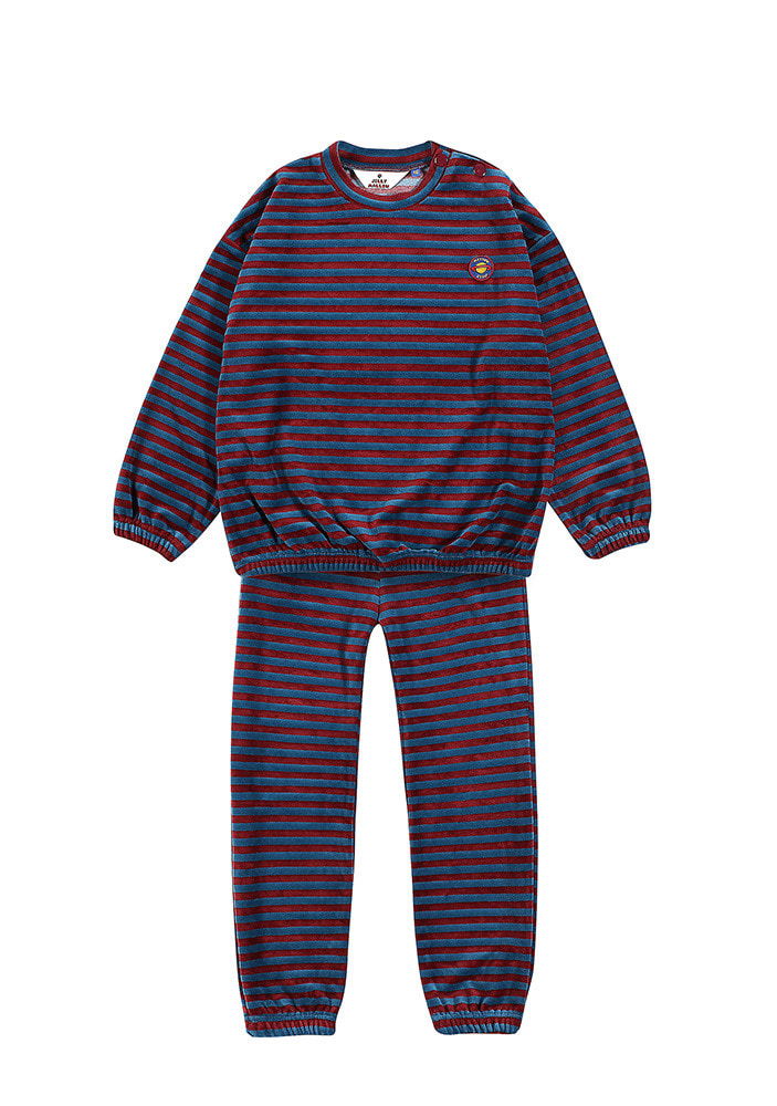 STRIPE SWEATSHIRT & LOUNGE PANTS_Burgundy & Blue
