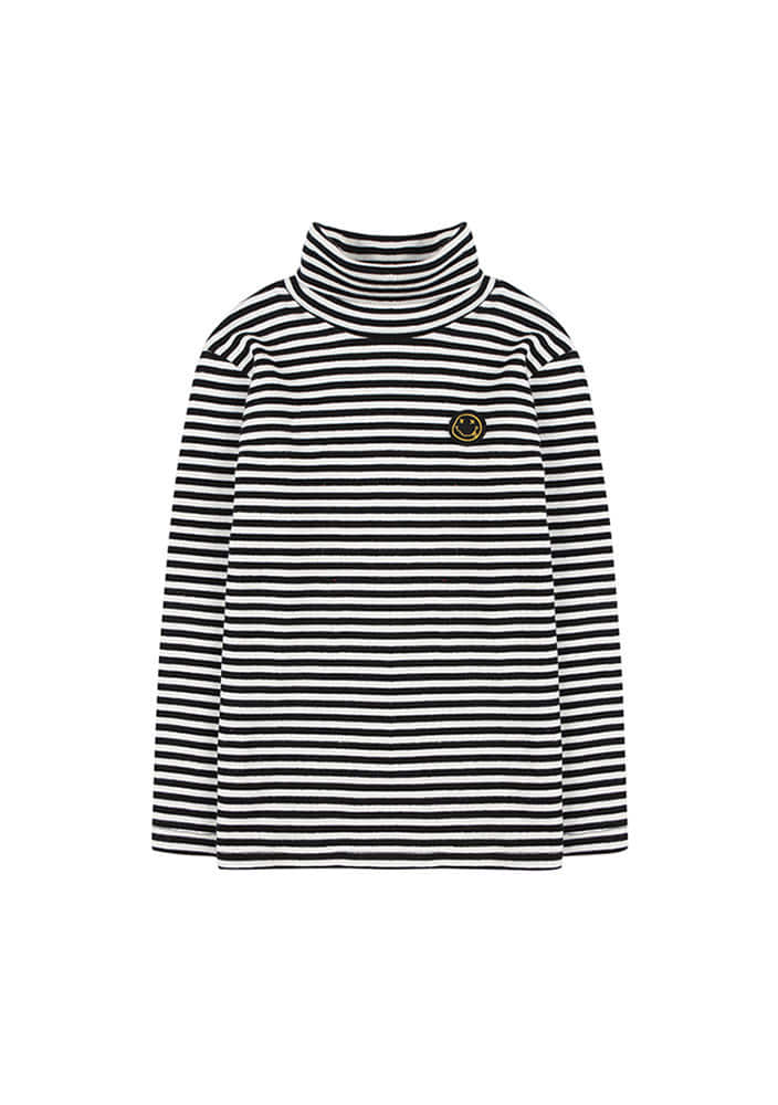 STRIPED PATCH TURTLENECK_Kids_Black