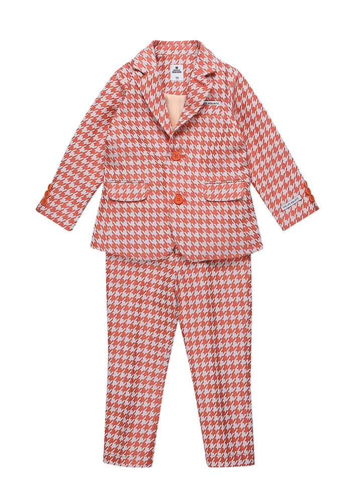 Hound tooth check suit_Orange_Baby