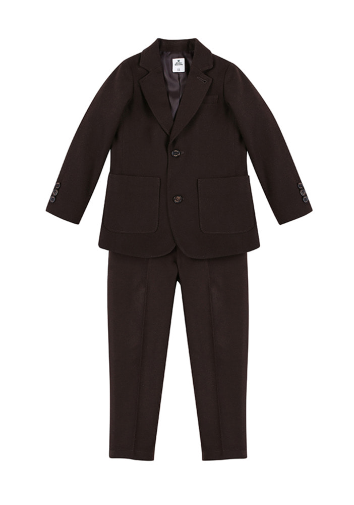 Wool Single Breasted Suit_Brown_Kids