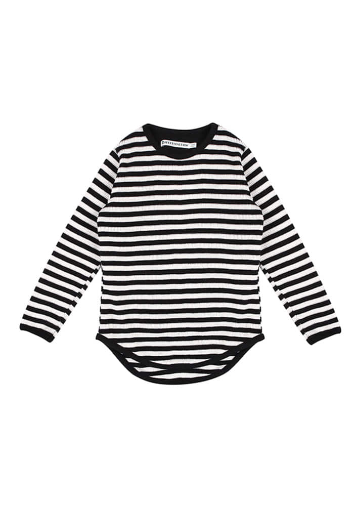 Striped T-shirt_Black_Kids