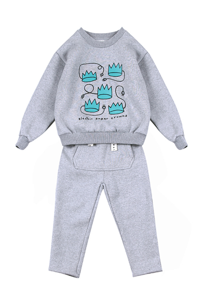 Fluff Sweat Set_Grey_Kids