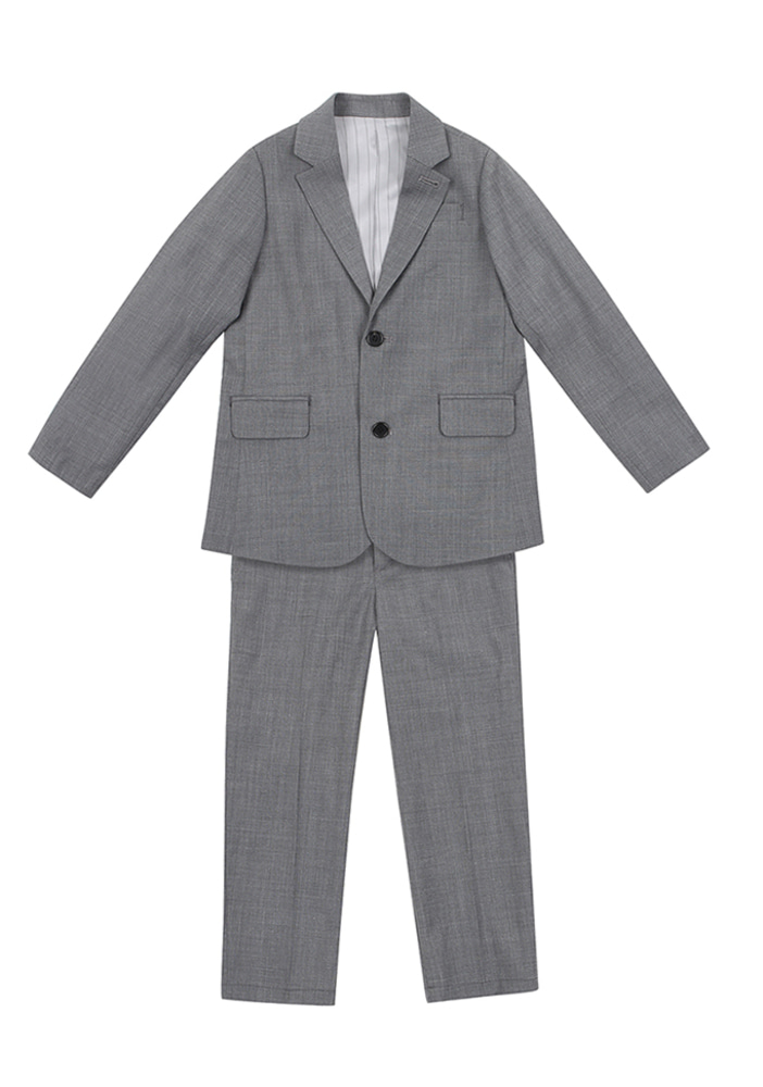 Wool Single Breasted Suit_Grey_Kids