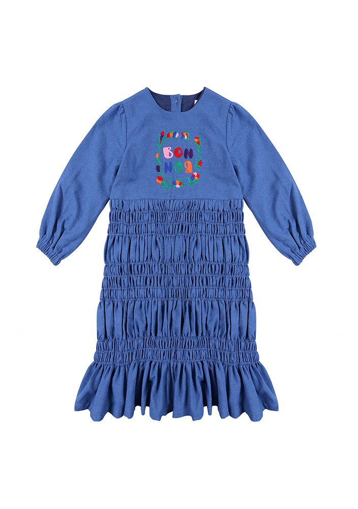 BONBON Shirring Dress_Kids_Blue_#2