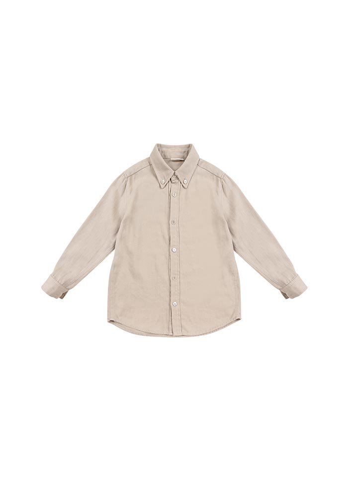 Button-down Cotton Shirt_Baby_Beige