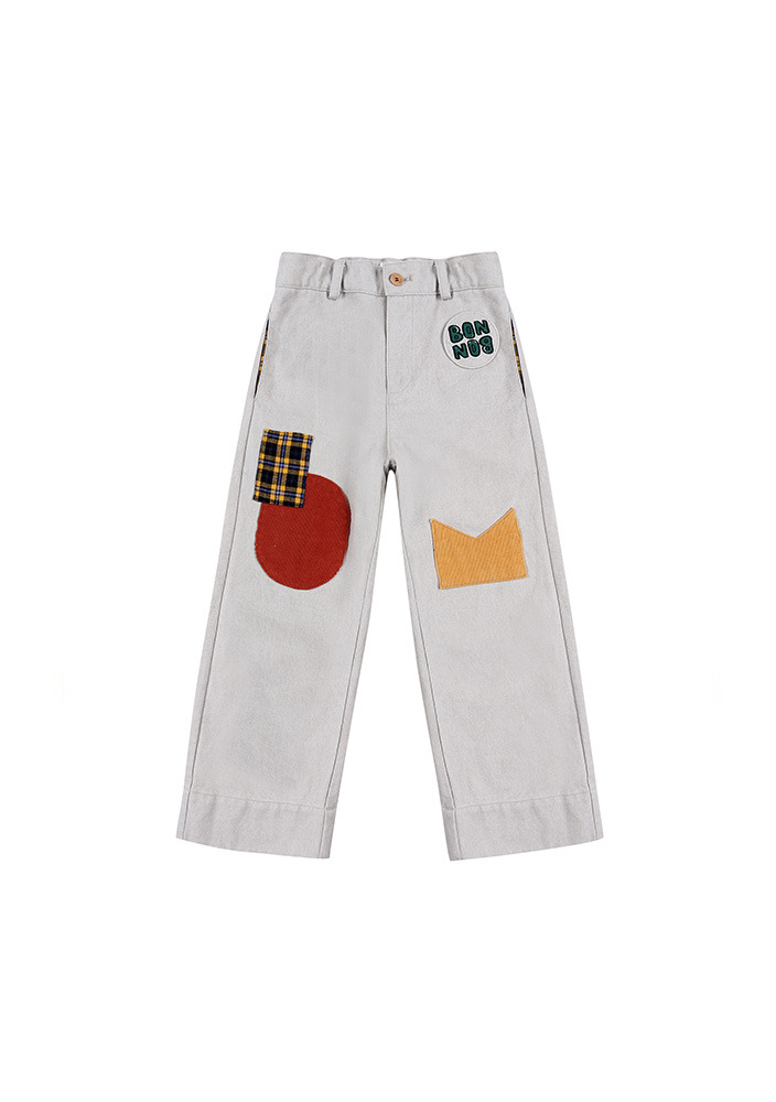 Patch Cotton Pants_Grey_Kids_#2