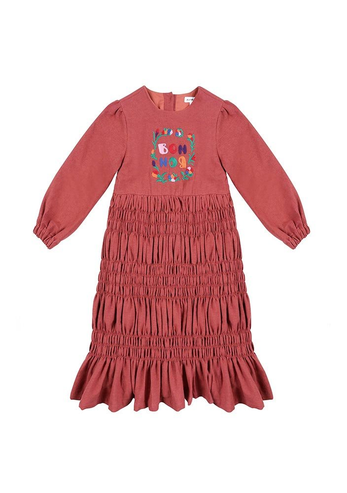 BONBON Shirring Dress_Kids_Red_#2