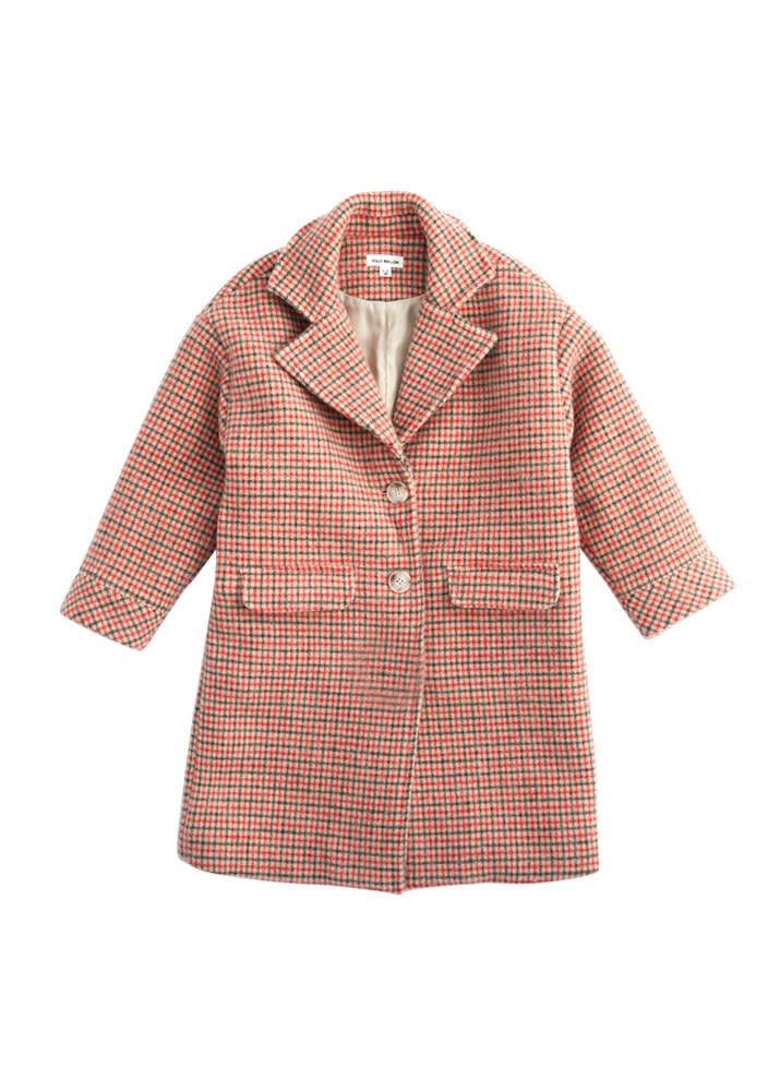 Alpaca wool check coat_Red