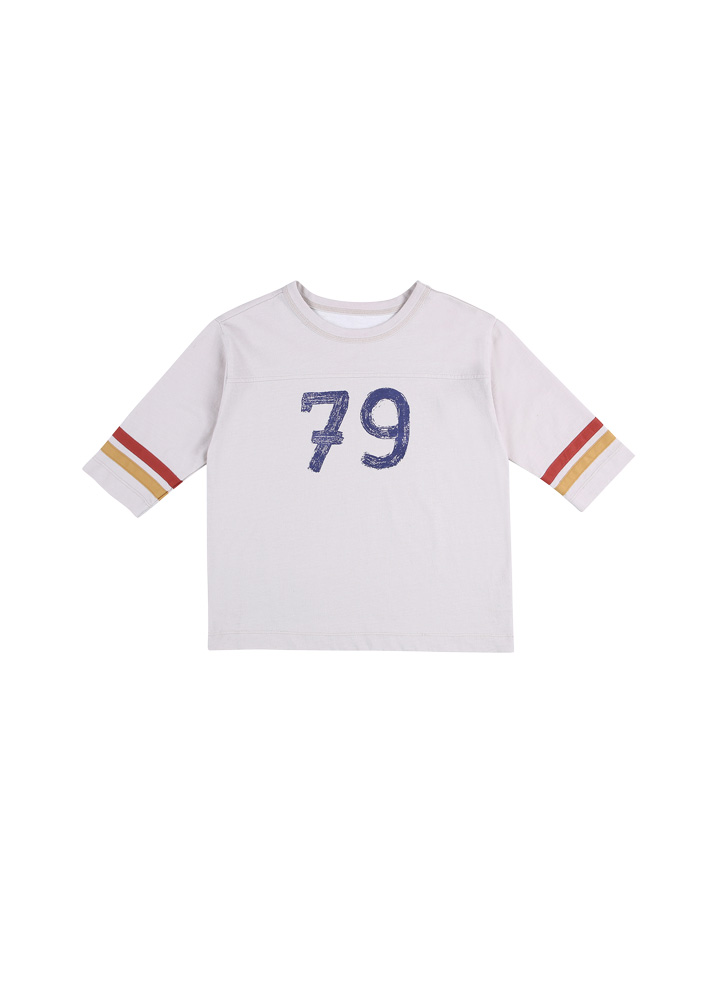 Football 3/4 Sleeve T-Shirt_Kids_Beige