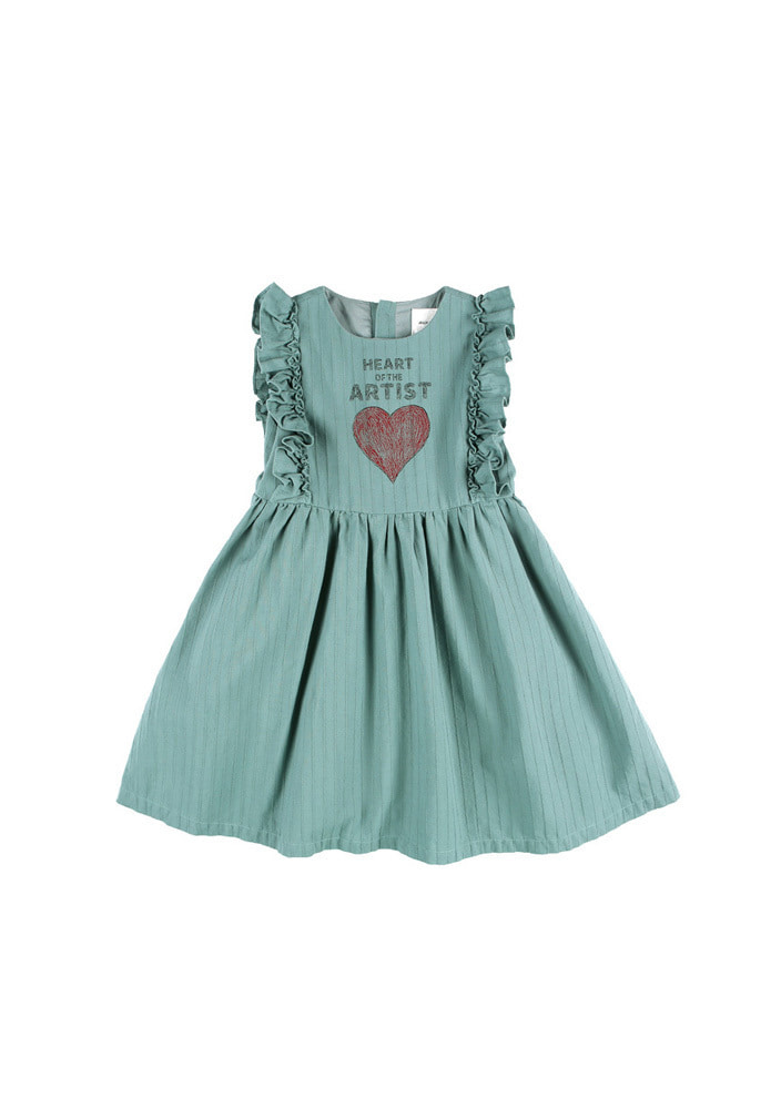 Artist Heart Dress_Kids_Green