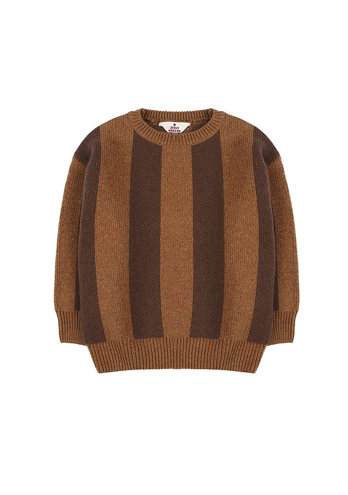 STRIPED WOOL SWEATER_Brown