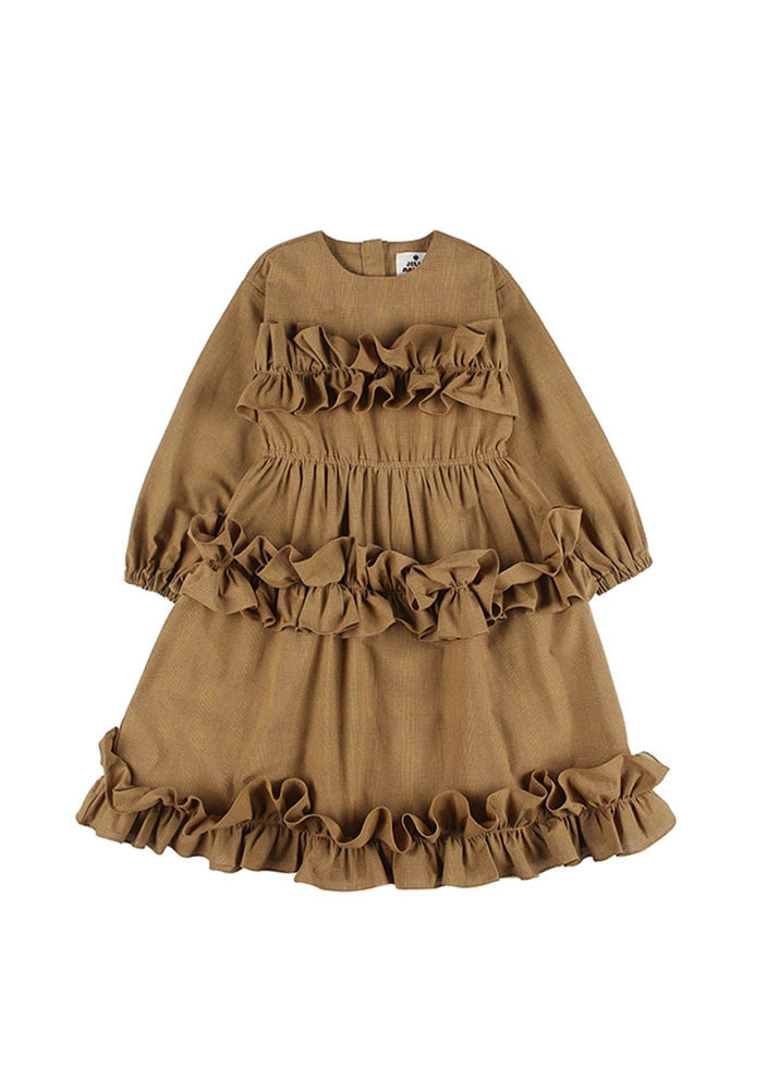 SHIRRING DRESS_Beige_Baby
