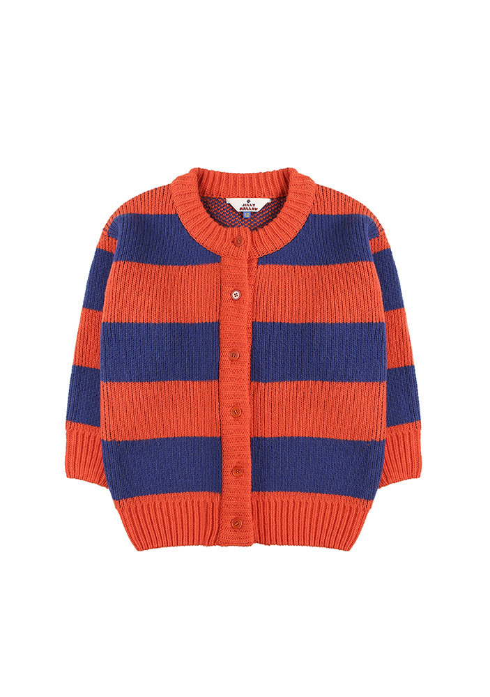 ★STRIPED WOOL CARDIGAN_Orange&Blue