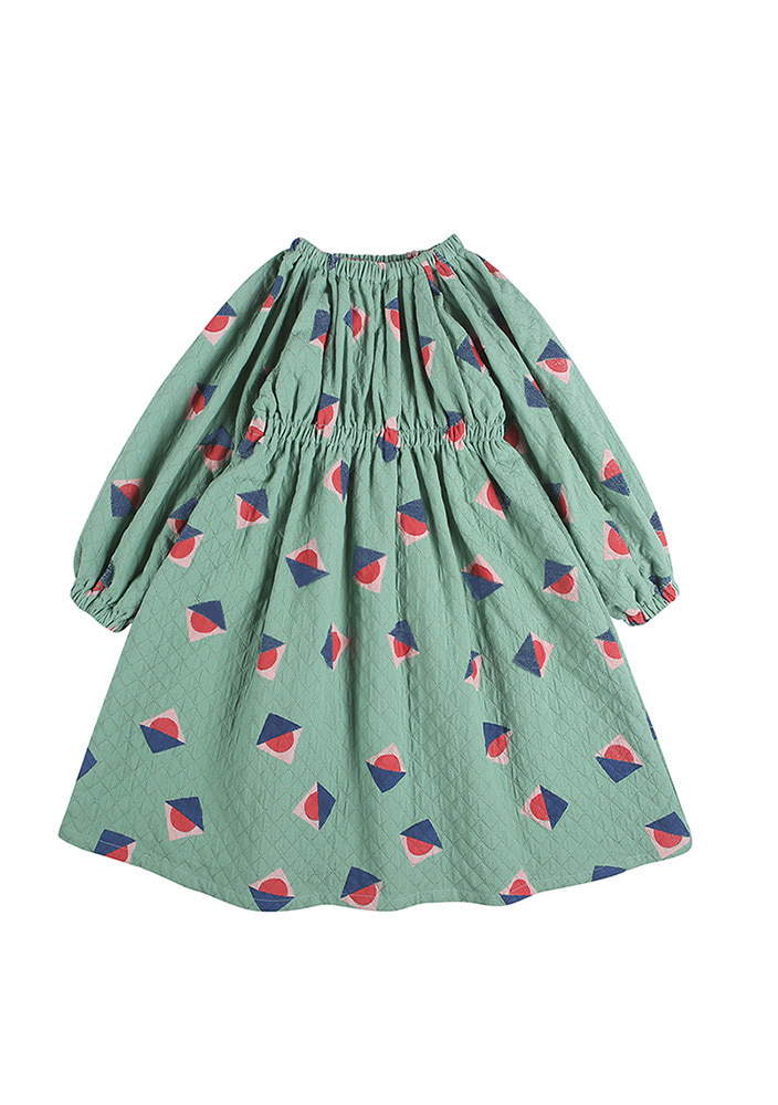 SUNSET RUCHED DRESS_Kids_Green