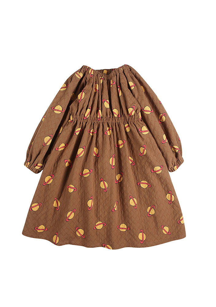 SATURN RUCHED DRESS_Baby_Brown