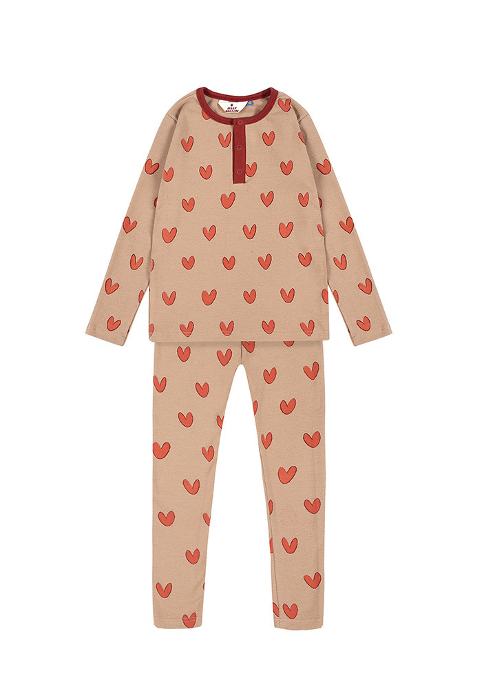 HENLEY NECK HEART SET_Kids_Beige & Brick_#2