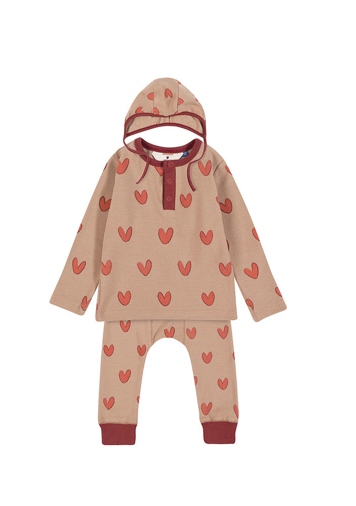 HENLEY NECK HEART SET_Baby_Beige & Brick