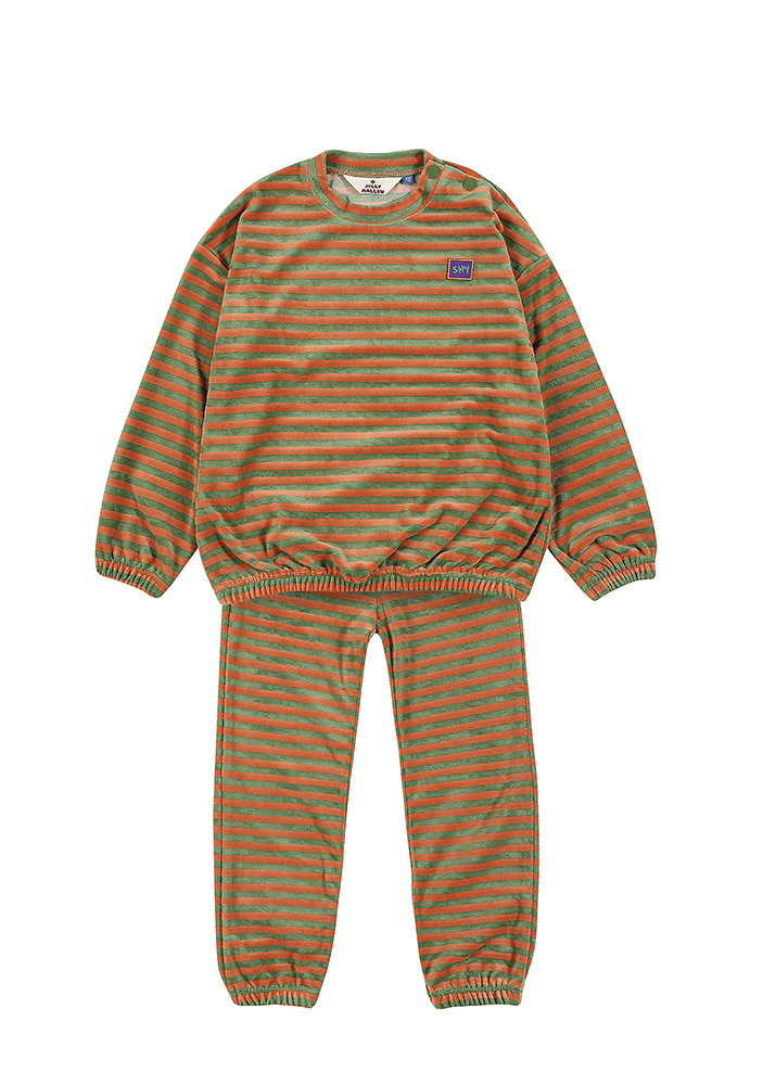 STRIPE SWEATSHIRT & LOUNGE PANTS_Green & Orange
