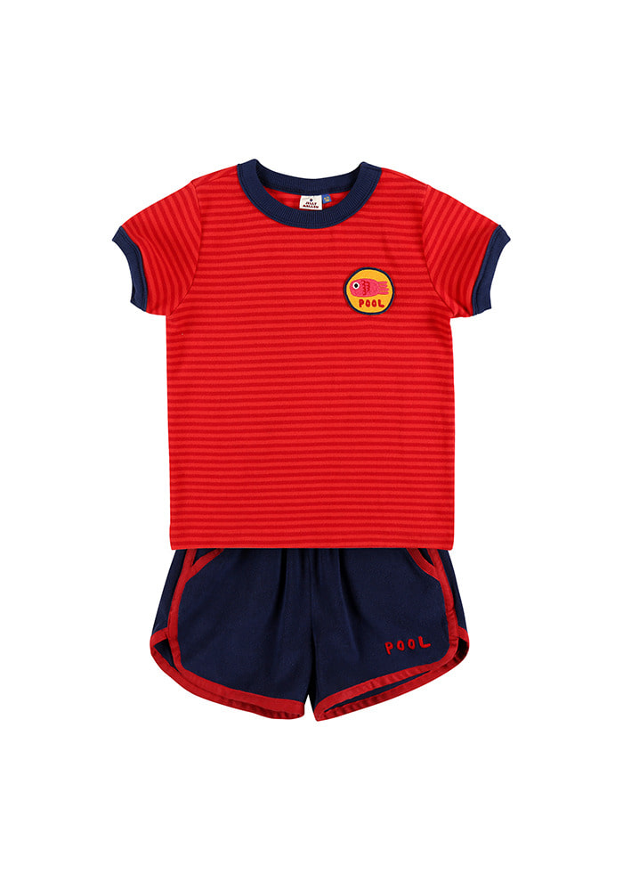 STRIPED SUMMER SET_Red&Navy_Kids