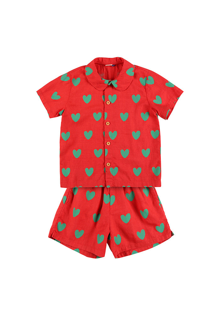 HEART SUMMER SHIRT SET_Red_Kids