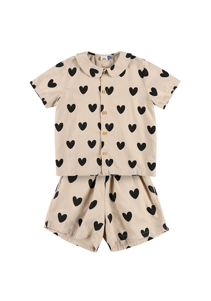 HEART SUMMER SHIRT SET_Beige_Kids