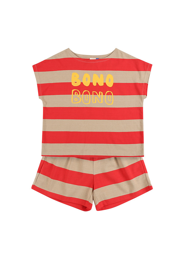 BONO STRIPE COTTON SET_Red&Beige_Kids