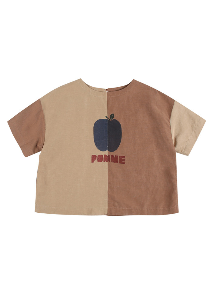 TWO TONE BLOUSE_Beige&Brown_Baby#2