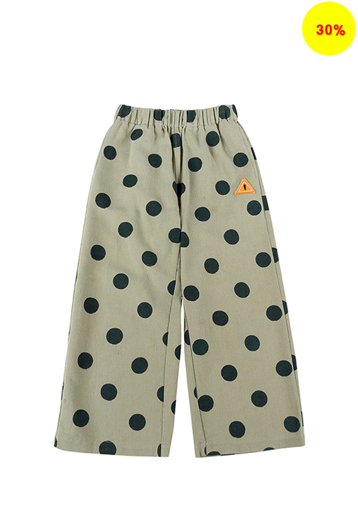 DOTTED GABARDINE COTTON PANTS_Kids_Olive Green