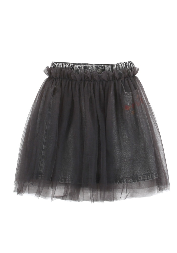 PETIT JELLY DENIM SKIRT_Grey