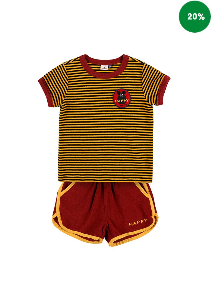 STRIPED SUMMER SET_Yellow&Brick_Kids