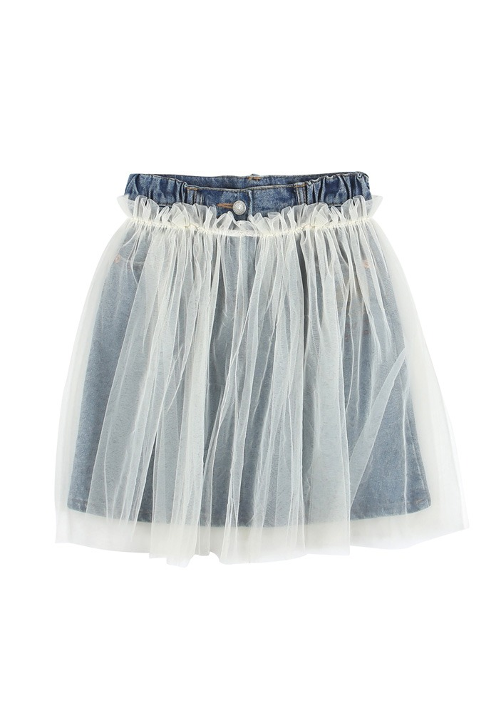 PETIT JELLY DENIM SKIRT_Blue