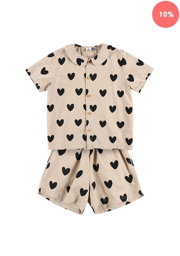 HEART SUMMER SHIRT SET_Beige_Baby