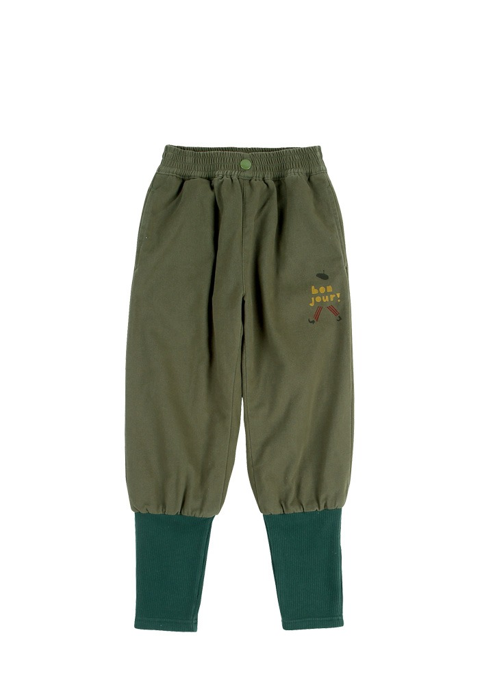 COTTON NAPPING  JOGGER PANTS_Khaki_Kids