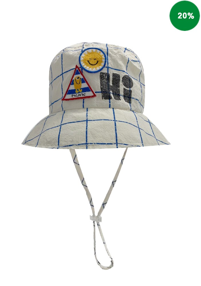 GRID CHECKED BUCKET HAT
