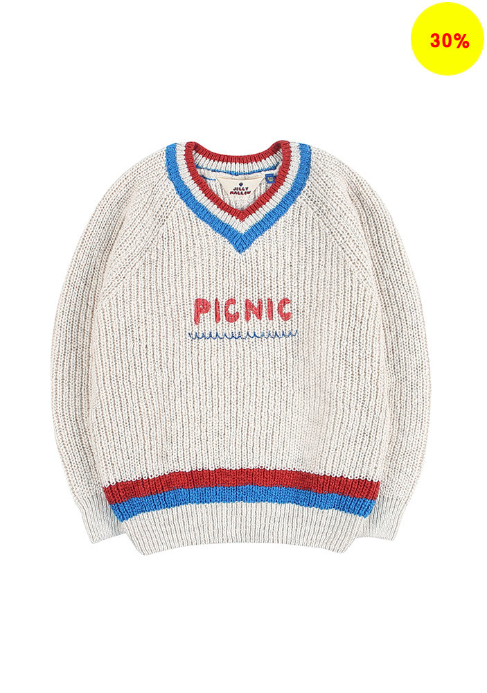 PICNIC COTTON V-NECK SWEATER