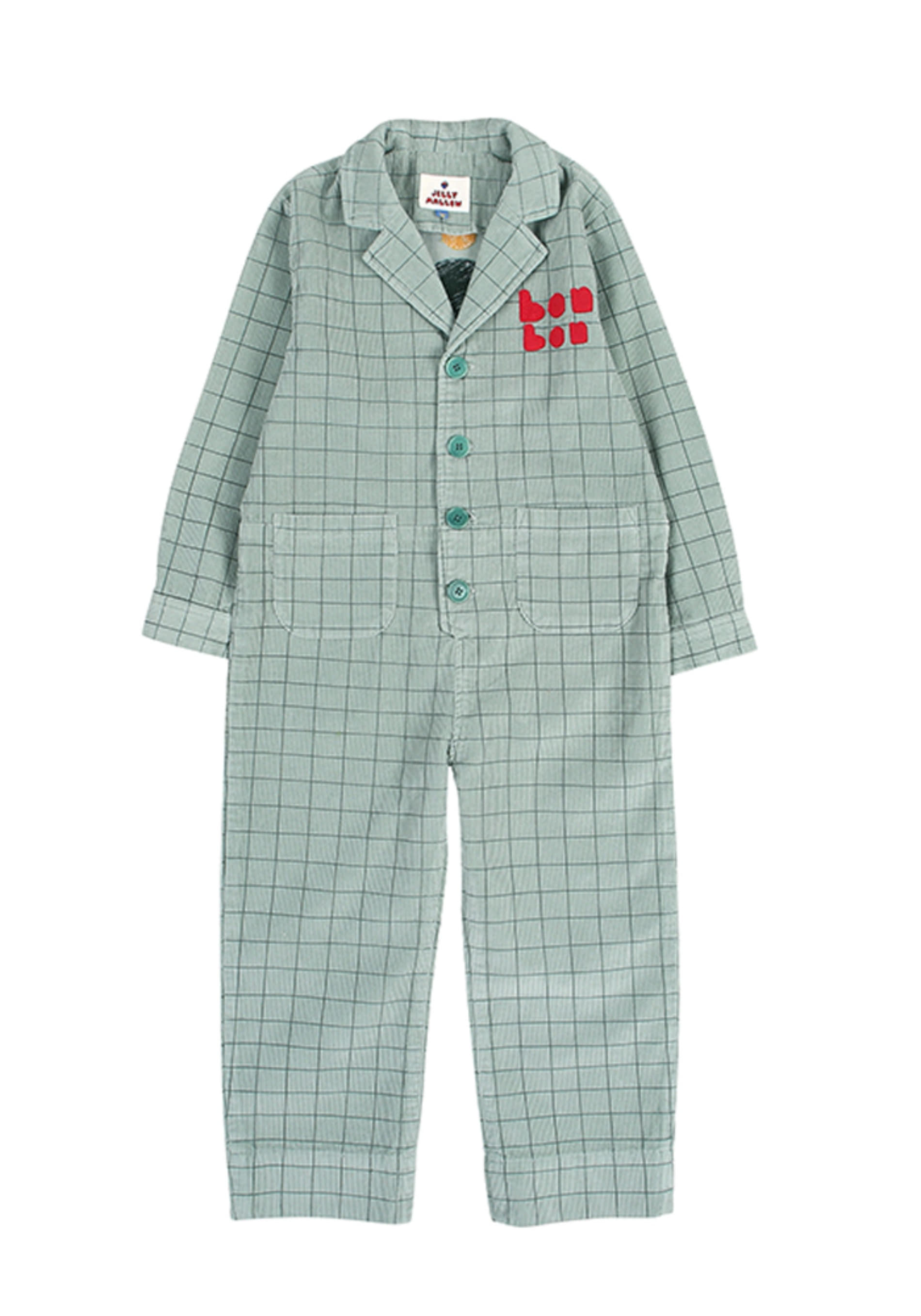 GRID CORDUROY JUMPSUIT_Green_Baby