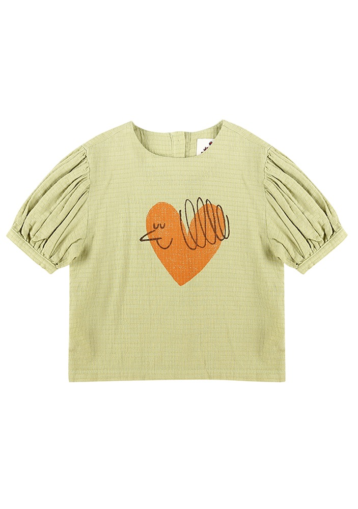 HEART BIRD SHORT SLEEVE BLOUSE
